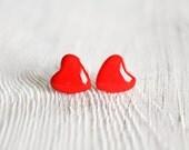 Tiny red heart stud earrings, post earrings, gift for her under 15, winter fashion by CuteBirdie - CuteBirdie