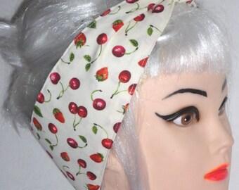 Headband  CHERRIES STRAWBERRIES  Pinup Vintage Retro Style 50s Rockabilly Head Wrap Scarf Bandana