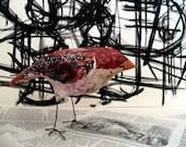 The Astronomer, red bird sculpture art object paper mache' bird original art whimsical creature recycled materials ooak holiday gift