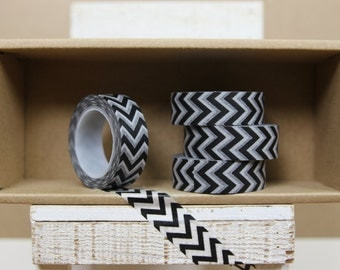 Washi Tape - black vertical chevron  - 9013