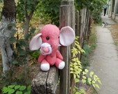 Fabric small pink elephant. Cloth art toy.
