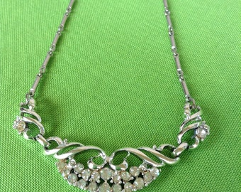 Vintage Silver-tone and rhinestone necklace (Item 459)