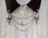 Silver Bird Skull Collar Clip Collar Chain