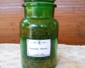 Dried Whole Lavender Blooms, Green Glass and Gold Jar, aromatherapy, tea, culinary, no chemicals, no pesticides