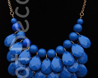 Statement necklace bubble necklace bib necklace Blue necklace for women beaded necklace for anniversary teardrop necklace Chunky Necklace