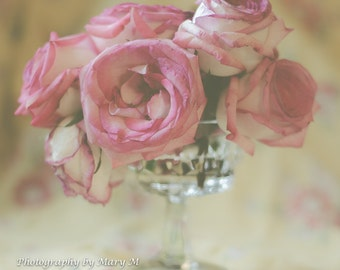 Floral Art Print .Roses, Pink Roses, flowers in vase. Pastel and soft colors feminine,Shabby