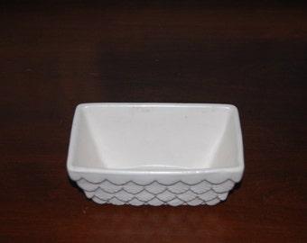 Vintage White Rectangle HULL USA Pottery Planter Scallop Design