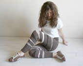 Brown Knitted Stretch Colorful Striped Tight  Pants Leggings Legwarmer