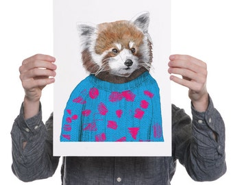 Howard - Red Panda in jumper - A4 or A3 Giclee Print Fox in Jumper