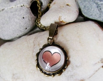 Necklace in vintage style . Pendant , a tender heart . Suspension in vintage style
