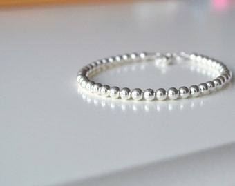 Sterling Silver Ball Bracelet, Sterling Silver Bracelet, Ball bracelet, Silver Beaded Bracelet,Bijoux, Bracelet