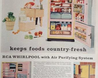 Vintage Whirlpool Refrigerator Ad, Paper Ephemera from a 1967 Life Magazine.
