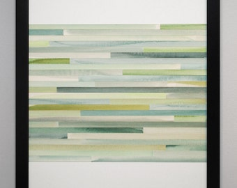 Abstract Painting, Watercolor, Collage, Original - Gray and green - MADE TO ORDER - modern art