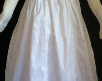 Baby Girl handmade Christening Gown made of 100% White Silk Dupion and fully lined.