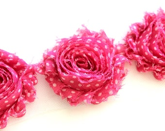 Shabby Rose Flower Trim--Hot Pink with Dots