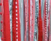Red Seafoam Whimsical Fabric Garland Backdrop - Curtain - Nursery, Teen Room,  Wedding, Birthday Party Decor - 4 ft x 6 ft
