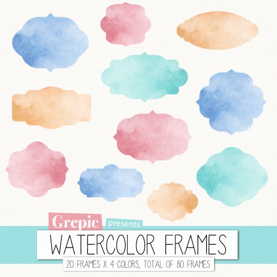 Art supplies digital watercolor clipart