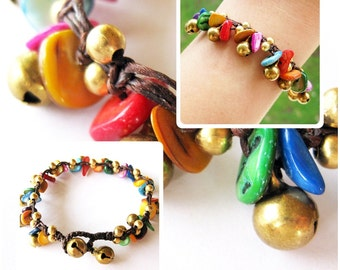 Beautiful Colorful Shell Bracelet with Brass Bells, Adjustable Size, Wax String Bracelet Handmade Jewelry. JB1054