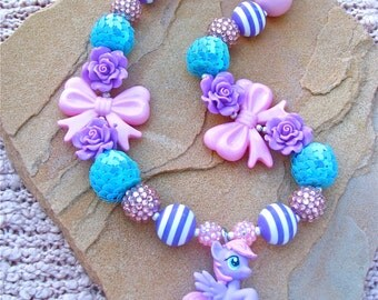 My little pony necklace, Sweet Song, bubblegum necklace, chunky girls' necklace