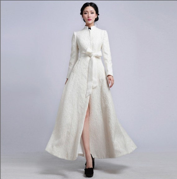 White Embroidered Organza Jacket Wedding Dress By ChineseHut