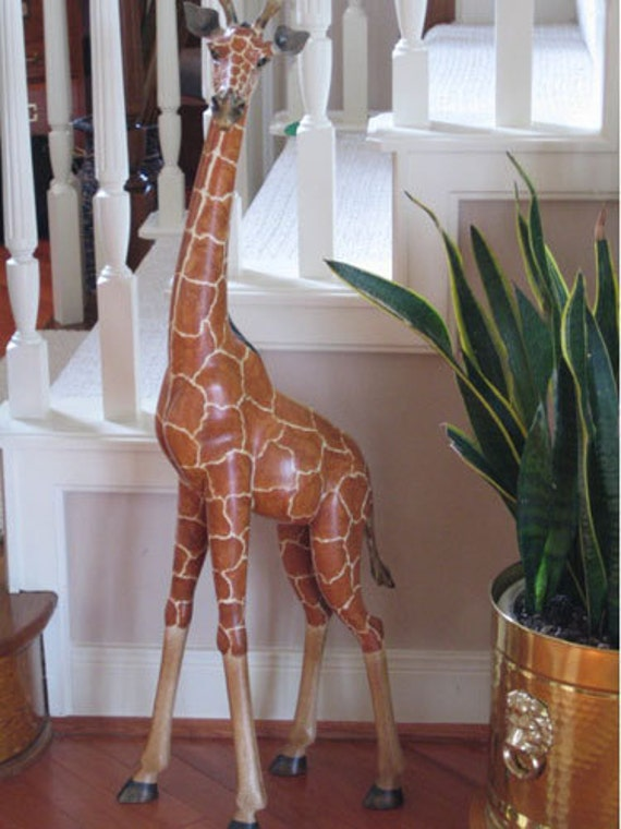 Wooden carved giraffe foot home decor amazing realistic wild