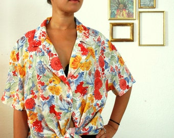 Vintage 90's Fresh And Colorful Spring Shirt