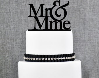 Mr and Mme French Wedding Cake Topper in your Choice of Colors, Elegant Wedding Cake Topper, Unique Wedding Cake Topper- (S092)