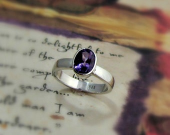 25% OFF Oval Amethyst Sterling Silver Ring - Made to Order, February Birthstone