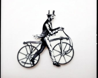 Year of the Horse Dandy Horse Magnetic Brooch - Wearable Dandy Horse Black and White Illustration Pin