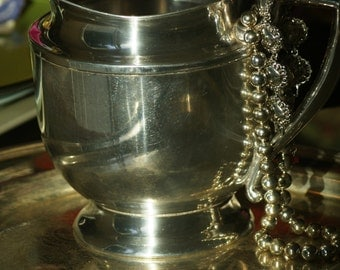 Silver Pitcher Antique Shabby Chic Silver Plate