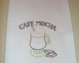 "Hand-Embroidered Kitchen Towel - ""Java Break - Cafe Mocha"""