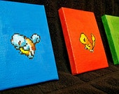 Pokemon Kanto Starters Sprite Paintings on 2.5 x 3.5 Mini Canvas - Set of Three