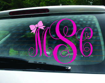 Bow Car Monogram Decal - Monogram decal for car