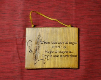 Woodburned Hope Plaque With Quill Pen