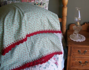 Pillowcase With Crochet Edging Trim - Aqua Blue and Red