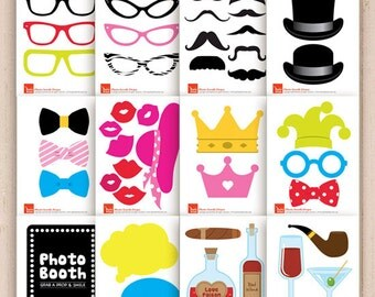 Photo Booth Props for your baby shower / wedding / mustache party - photobooth accessories including moustache, lips, bow tie, glasses props