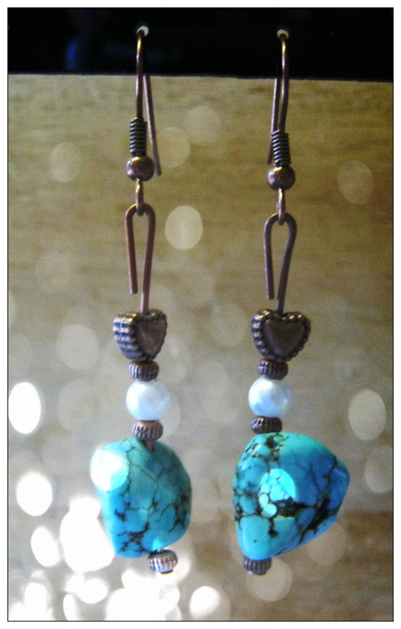 Handmade Copper Earrings with Turquoise, White Pearl & Heart by IreneDesign2011