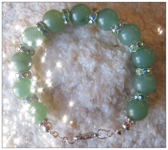 Handmade Silver Bracelet with Green Aventurine & Crystal by IreneDesign2011