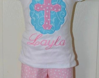 Personalized Easter Cross Scallop Applique Shirt or Onesie Girl or Boy