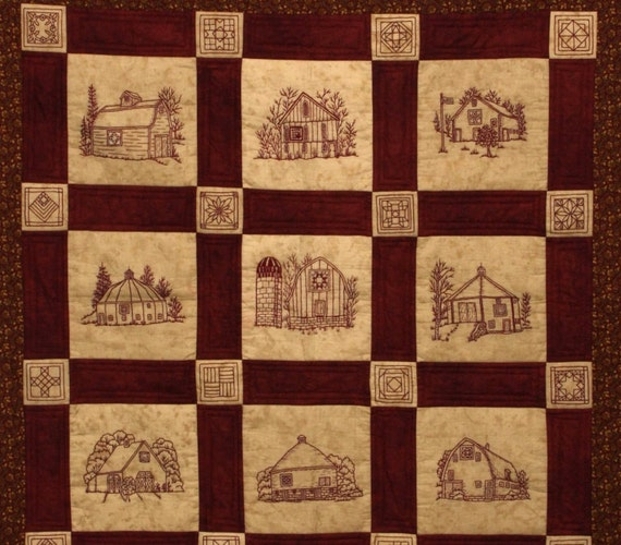quilt barns quilt pattern redwork hand embroidery blocks