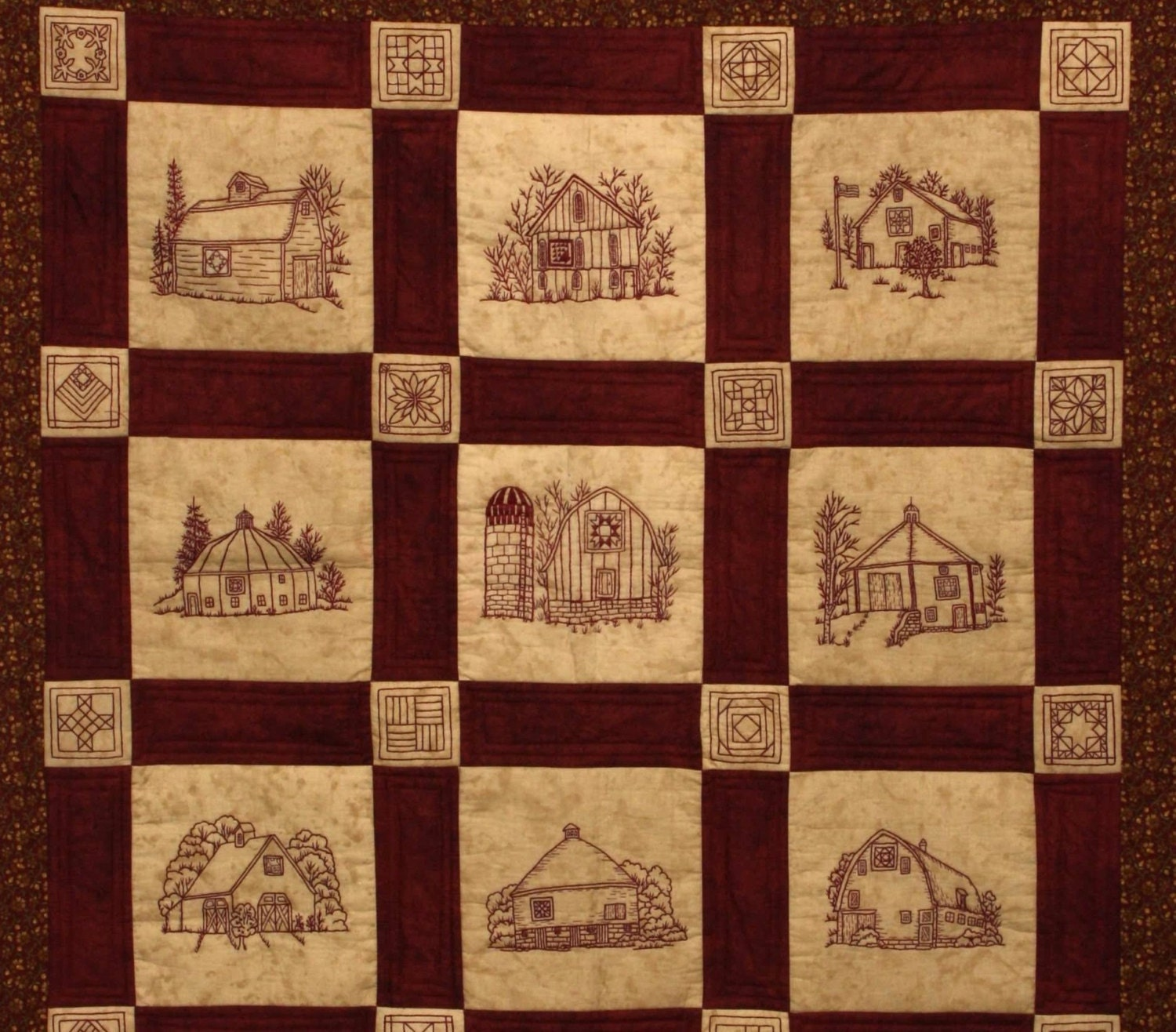 Quilt barns pattern redwork hand embroidery blocks