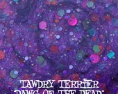 Dawg of the Dead - a bright purple glass fleck polish with a mix of orange, purple, red violet, lime green, and emerald green glitter