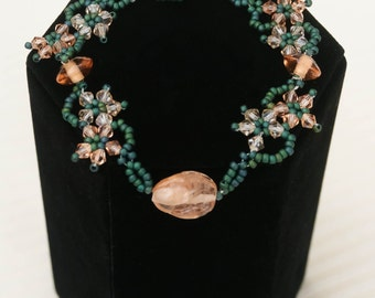 Unique Gift-Sophiticated Cute Flower Bracelet- Fairy Magic- Garden Party Accessory- Dark Teal & Pink Bead Woven Adorable   Crystal and Glass