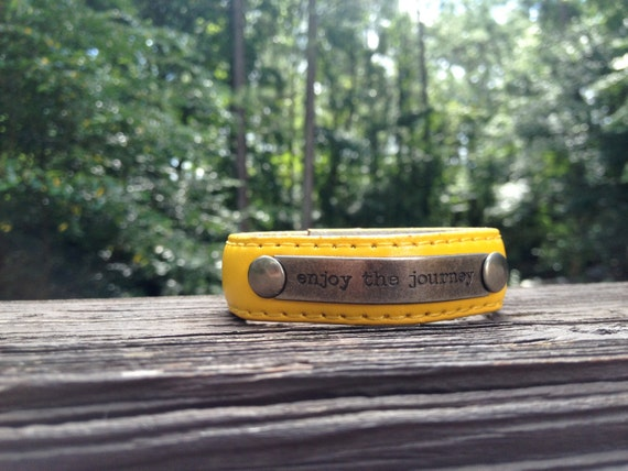 "Yellow ""enjoy the journey' Cuff"
