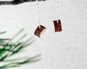 Handmade natural pine wood earrings. Silver tone chain. Eco friendly. Perfect gift for nature lovers