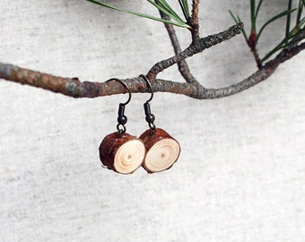 Handmade Natural Pine Wood Earrings with Different color findings Made in Latvia. Eco friendly. Perfect gift for nature lovers.