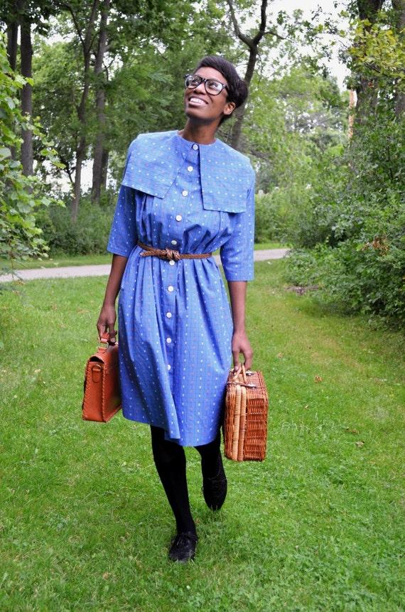 SALE! -- Vintage 50s 60s Puritan Collar Blue Tent Dress (Free Size)
