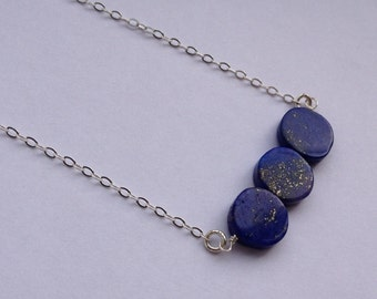 Lapis Lazuli Coin Gemstone Necklace with Sterling Silver - Blue Stone Necklace 16 inch - Gift For Her - Delicate Dainty Jewelry