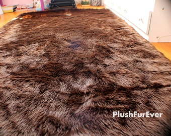 8 X 10 Faux Fur Rug Chocolate Brown Large Rectangle
