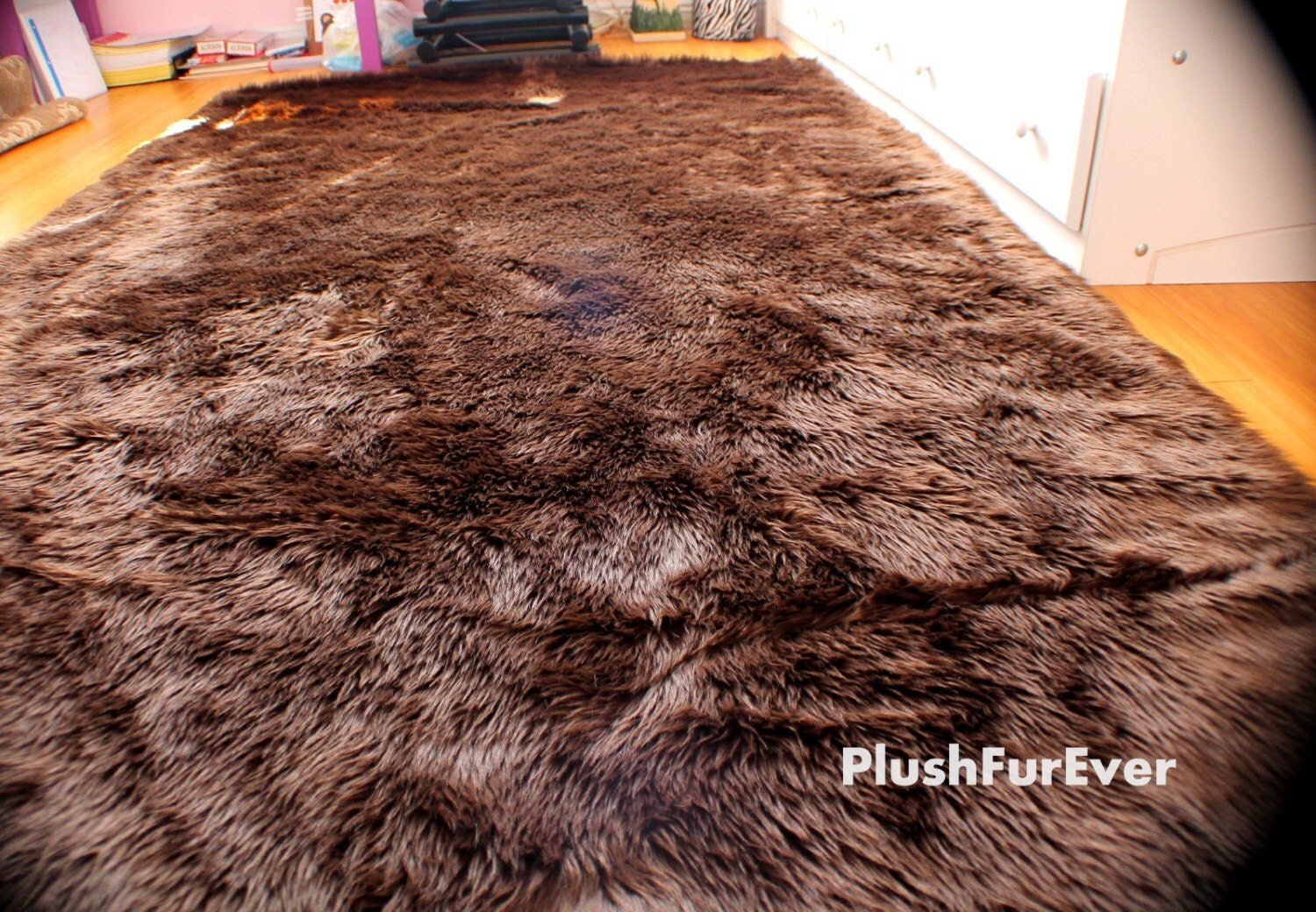 Faux fur rug chocolate brown black white large rectangle shape for Fur rugs